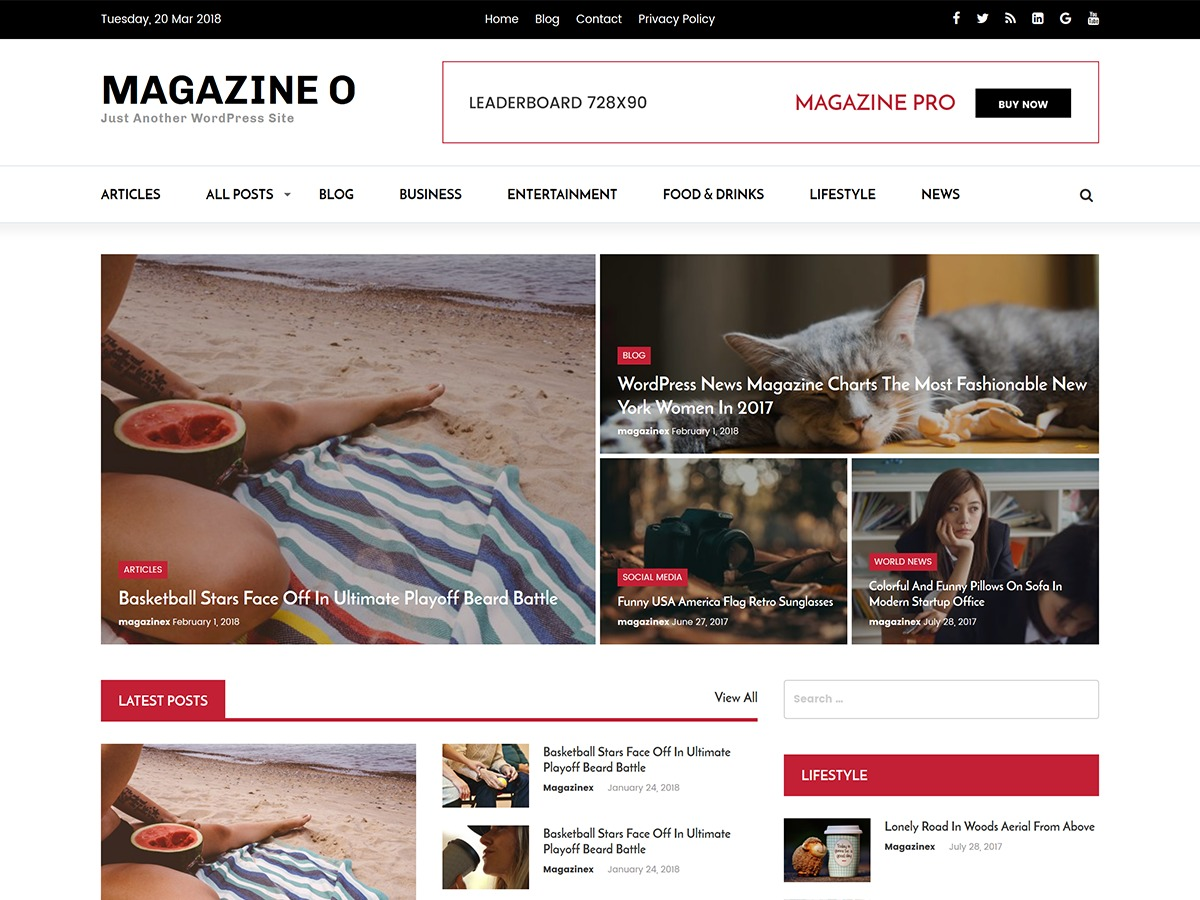 Magazine O WordPress news template
