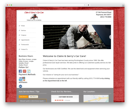 WordPress theme Swiftray Pro Responsive Theme - cgcarcare.com
