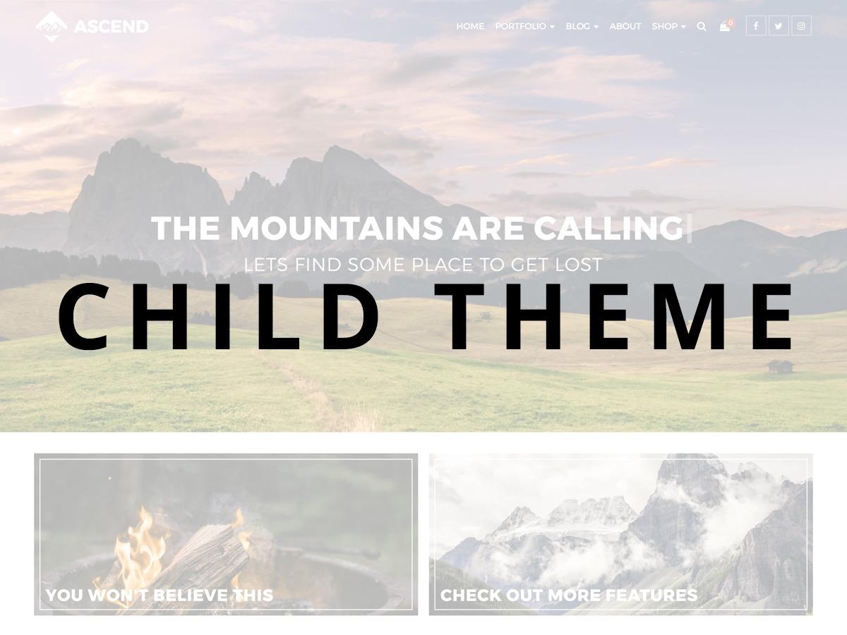 Ascend Child Theme WordPress page template