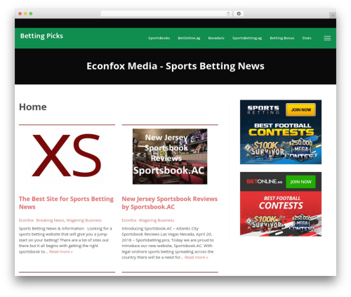 Template WordPress VegasHero Sports Betting Theme - econfox.com