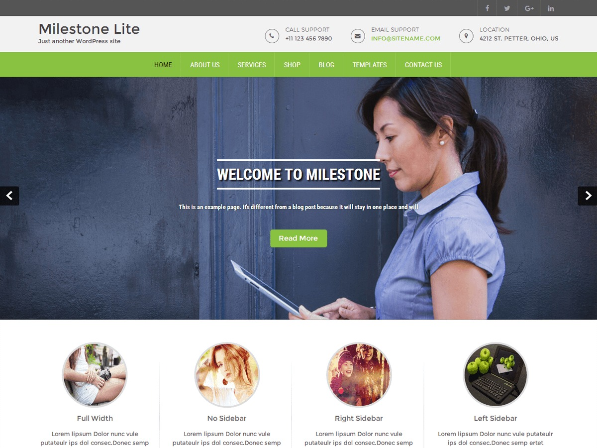 Milestone lite template WordPress free