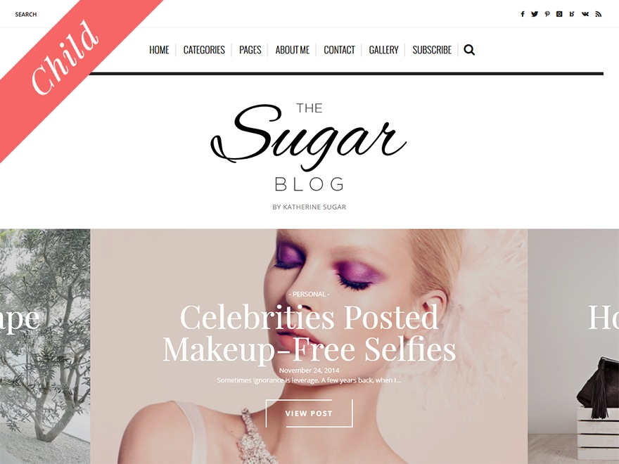 Sugarblog Child WordPress blog theme