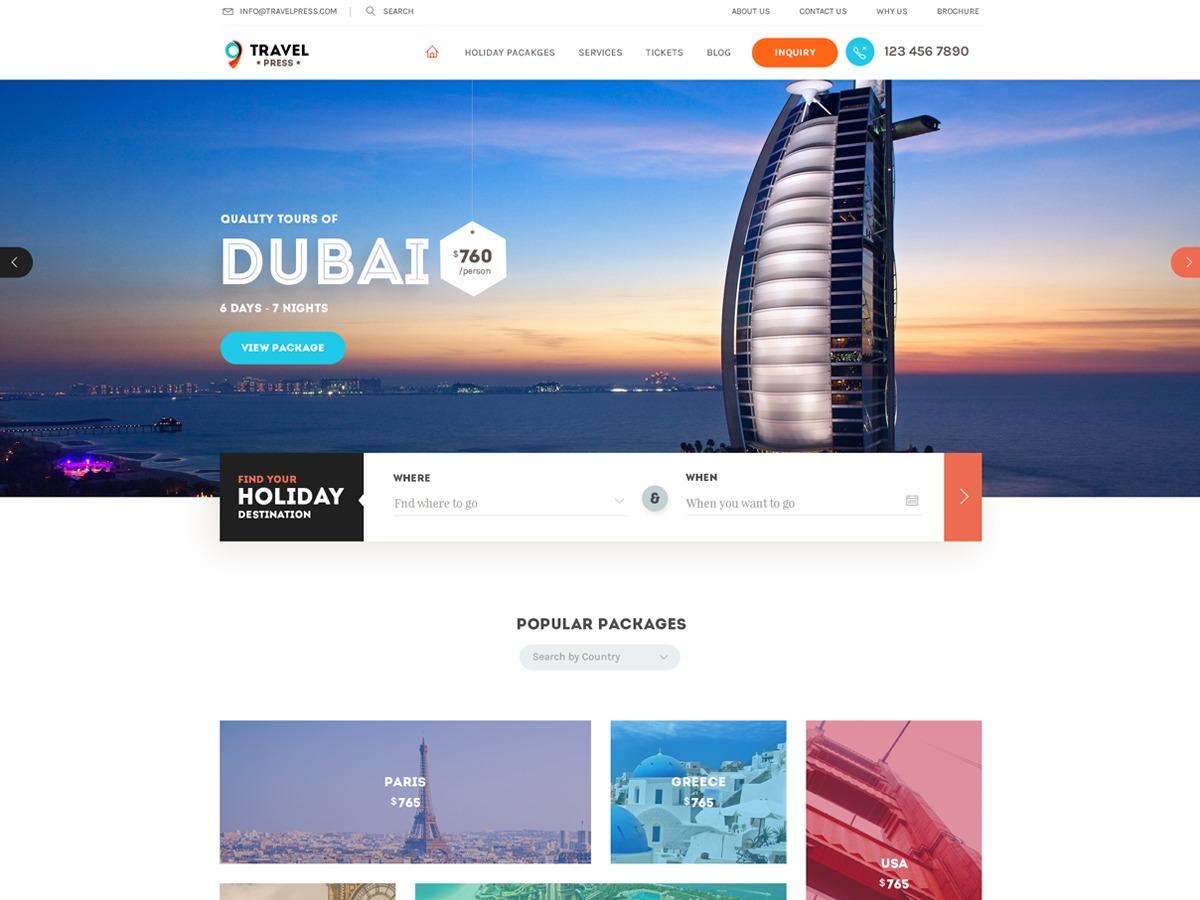TravelPress WordPress blog theme