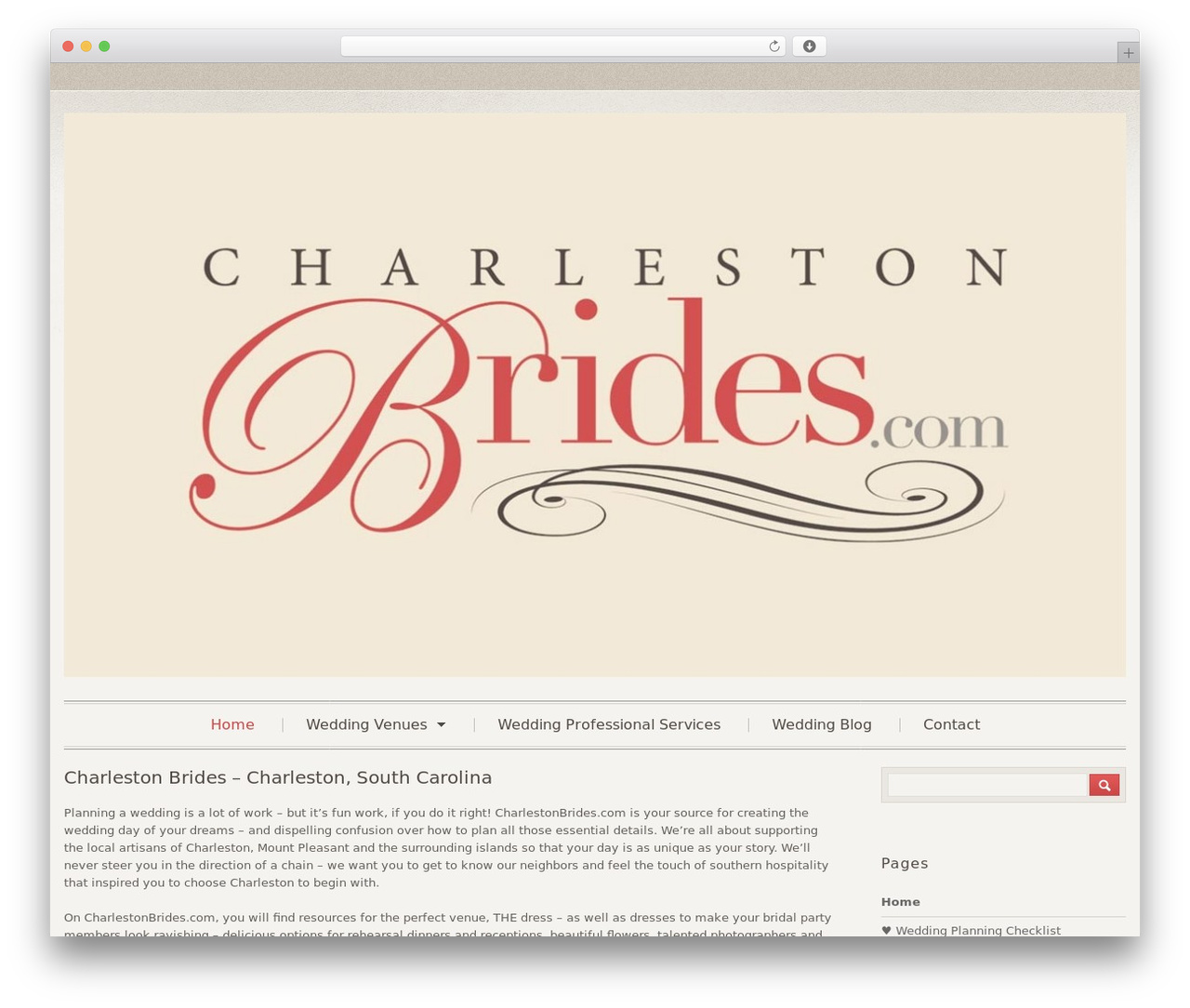 Klasik WordPress template - charlestonbrides.com