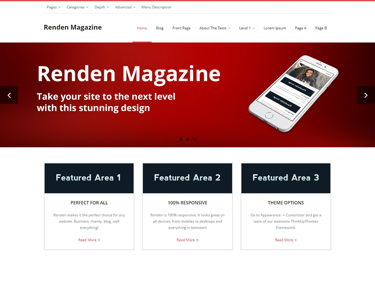 Renden Magazine company WordPress theme