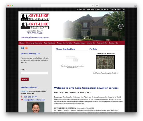 Auction Company Template WordPress real estate - callerauctions.com