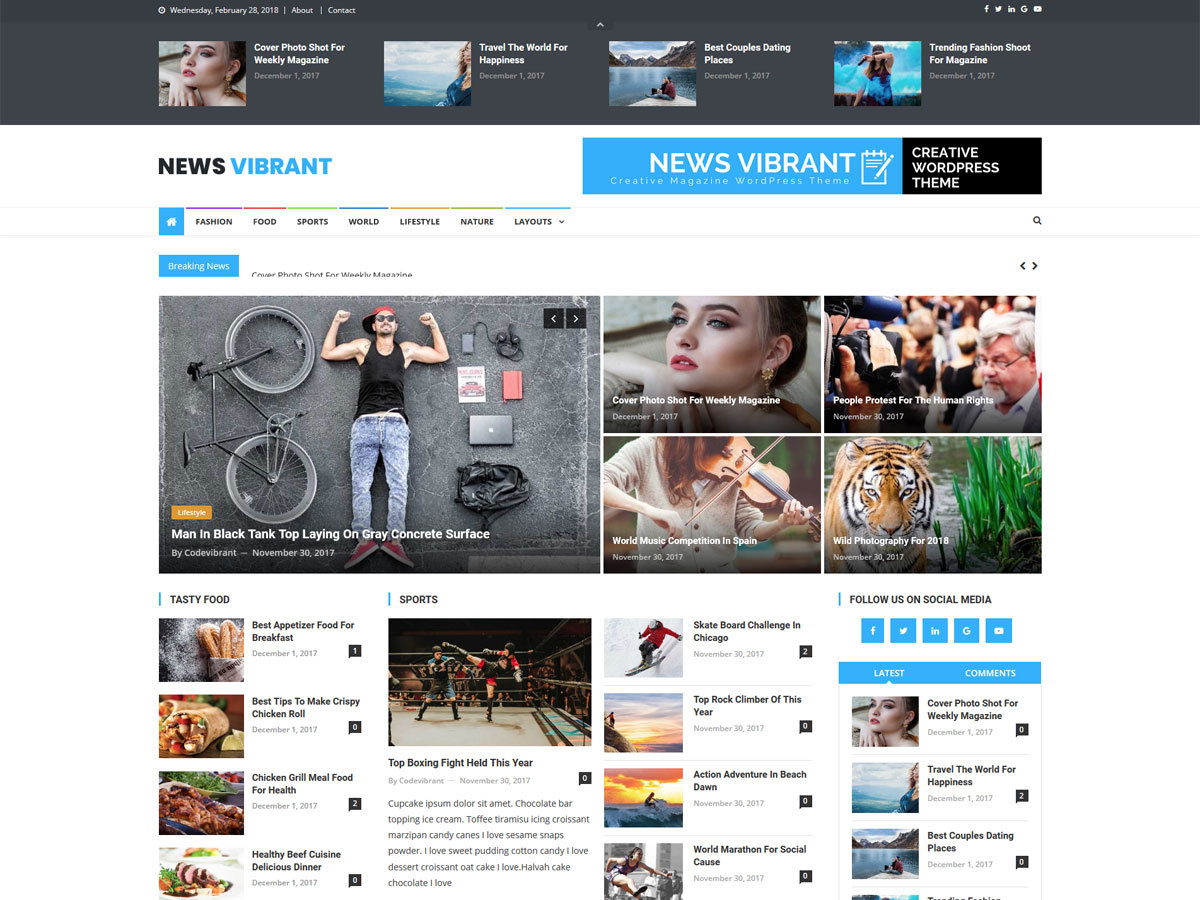 News Vibrant newspaper WordPress theme