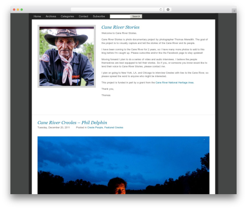 ProPhoto WordPress page template - caneriverstories.com