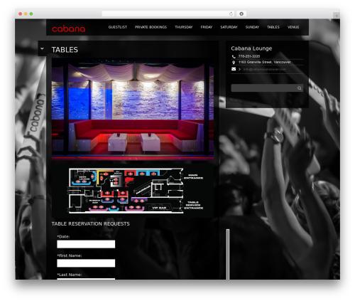 Black Label WordPress website template - cabanavancouver.com