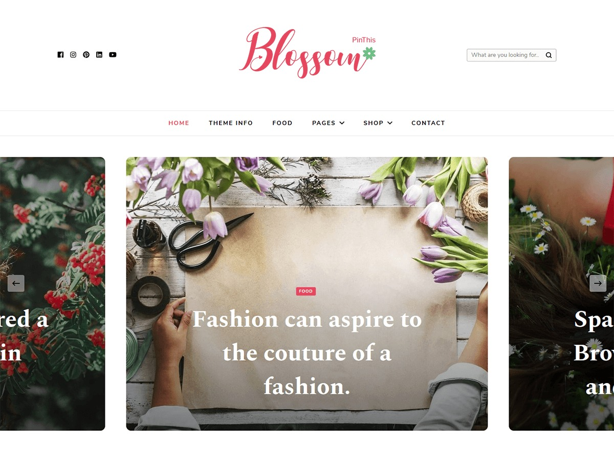 Blossom PinThis WordPress blog theme