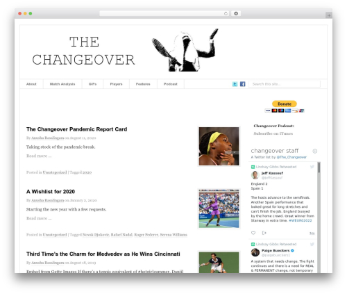 Prototype WordPress theme - changeovertennis.com