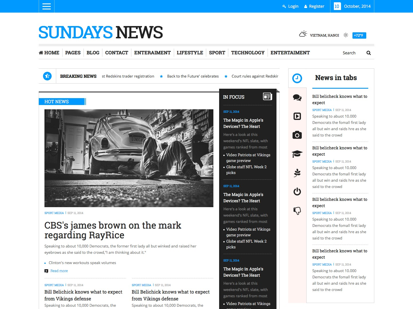 Sunday News WordPress magazine theme