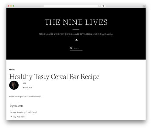 Elegant WordPress page template - theninelives.com