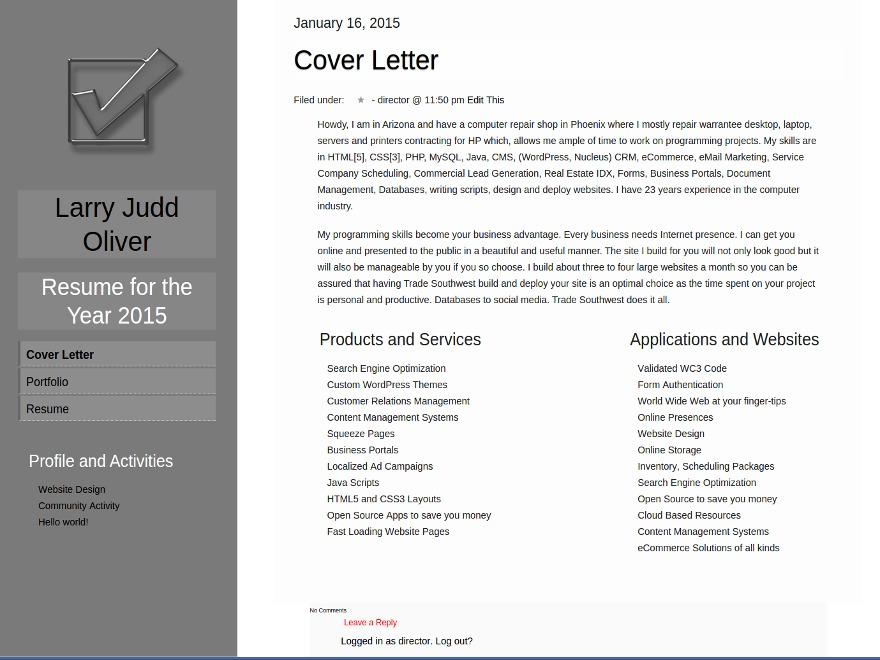 Theme WordPress Resume