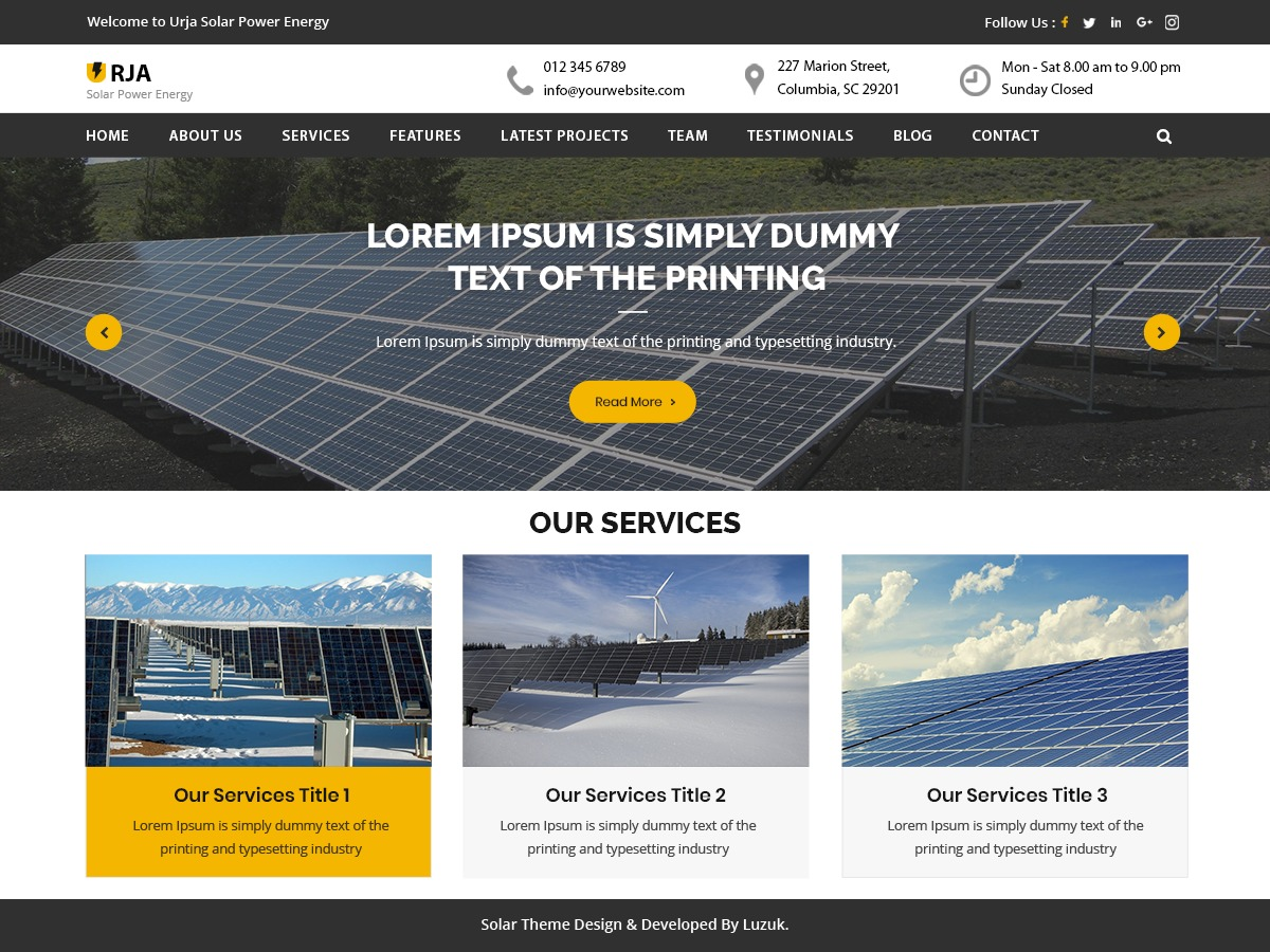 Urja Solar Energy WordPress shopping theme