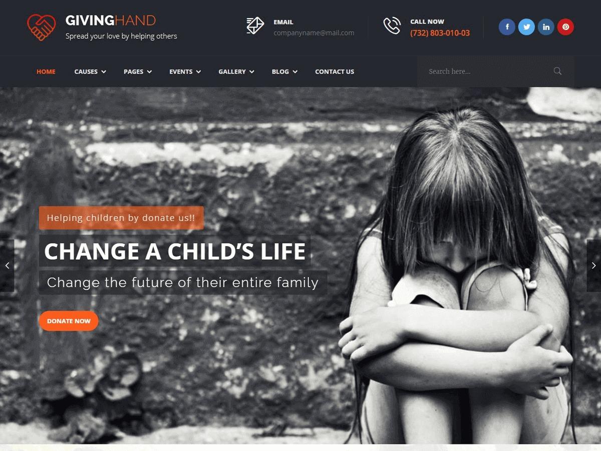 WordPress template Givinghand