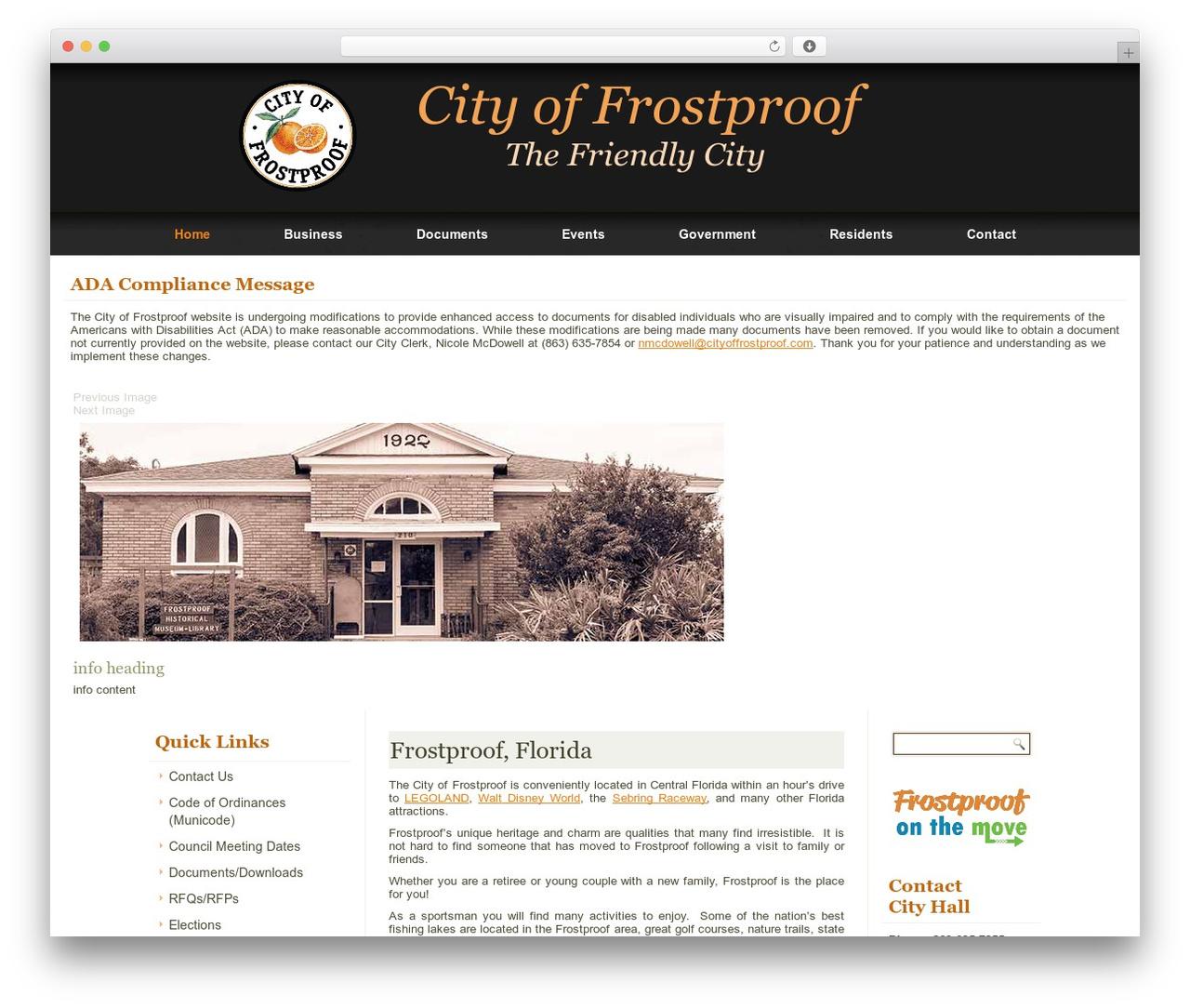 Best WordPress template frostproof2014 - cityoffrostproof.com