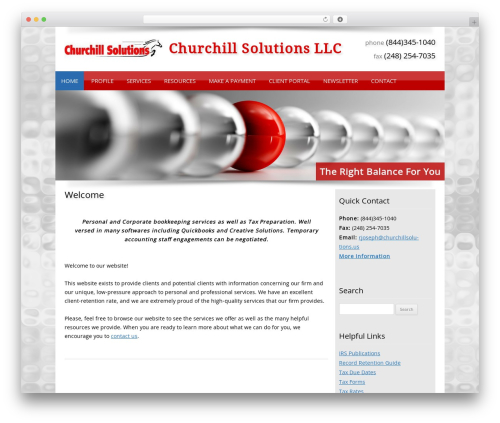 Customized WordPress website template - churchillsolutions.us