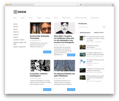 Split WordPress website template - curator.gr