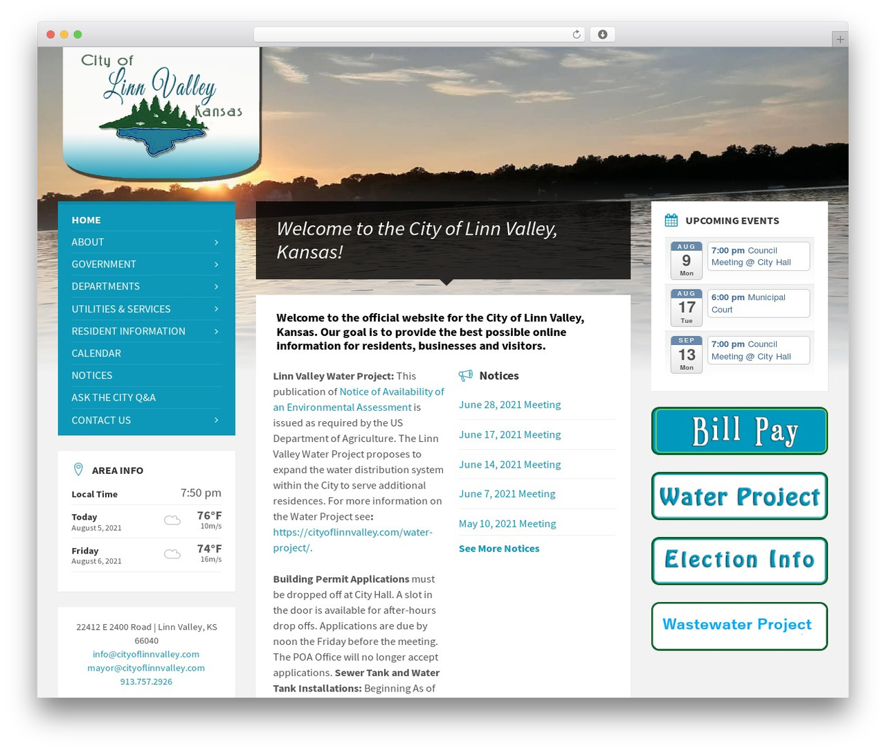TownPress WordPress page template - cityoflinnvalley.com
