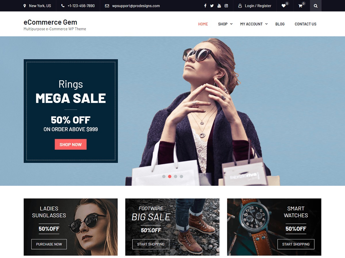 eCommerce Gem WordPress ecommerce template