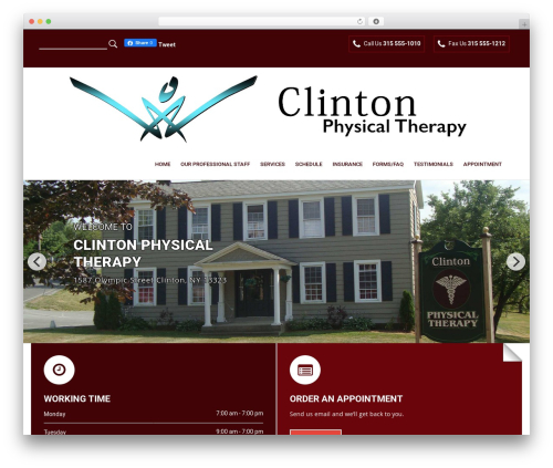 Physiotherapy WordPress theme - clintonphysicaltherapy.com