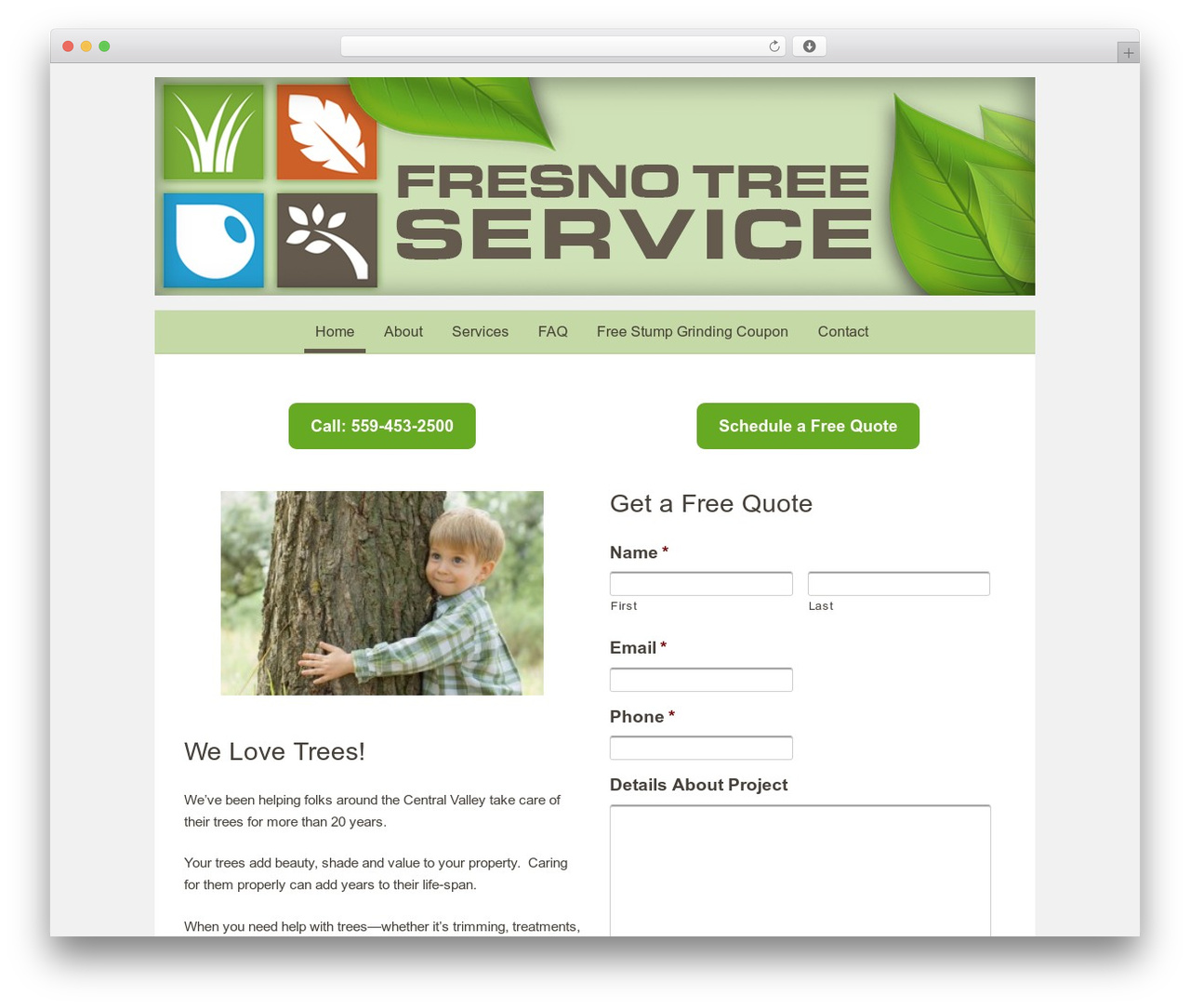 WordPress Website Template Fresno Tree