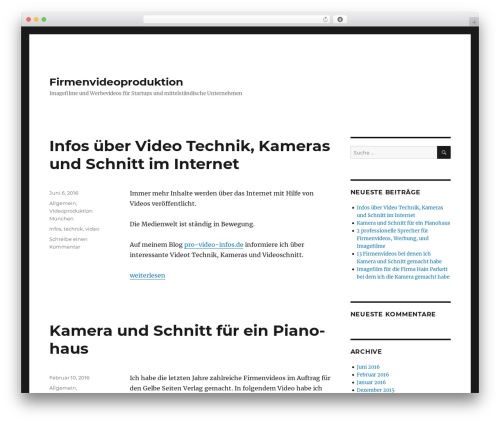 WP theme Twenty Sixteen - firmenvideoproduktion.de