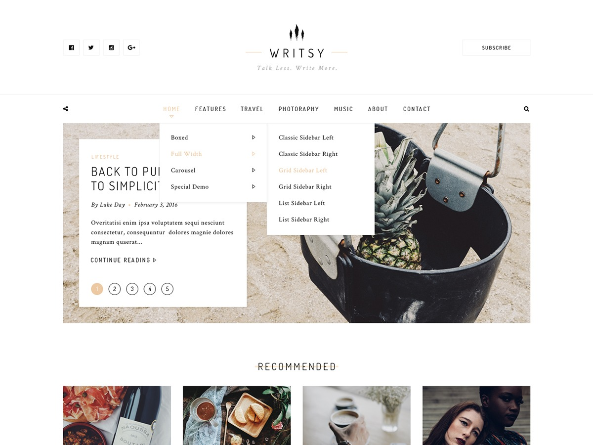 Writsy WordPress theme
