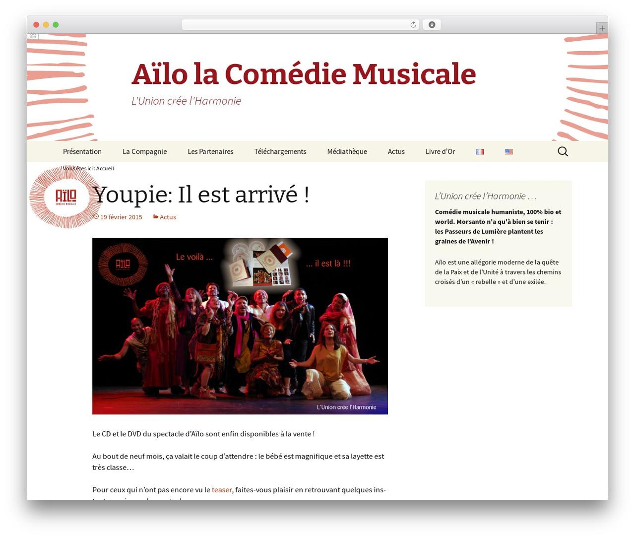 Twenty Thirteen best free WordPress theme - comedie-musicale-ailo.com/fr