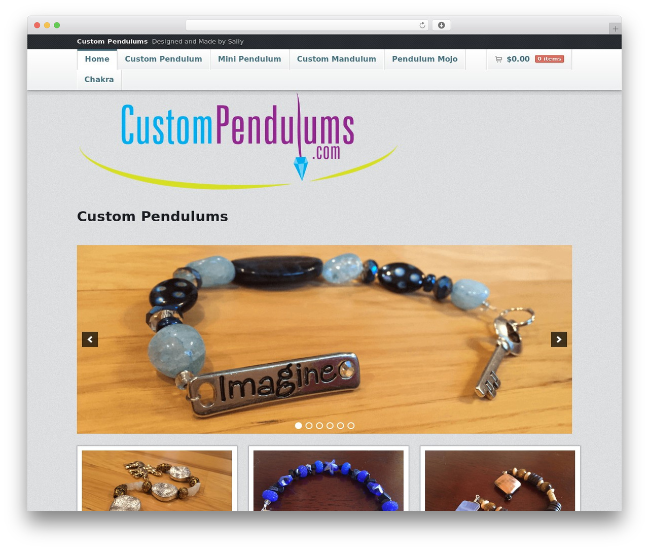 Emporium WordPress theme design - custompendulums.com