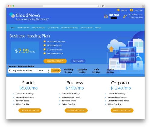 PHP Hosting WordPress template - cloudnovo.com