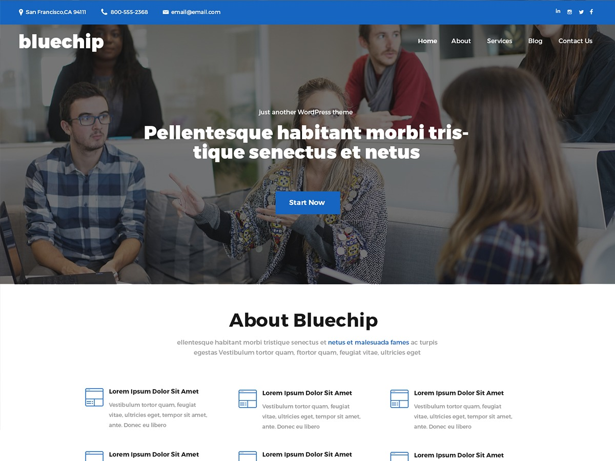 Bluechip company WordPress theme