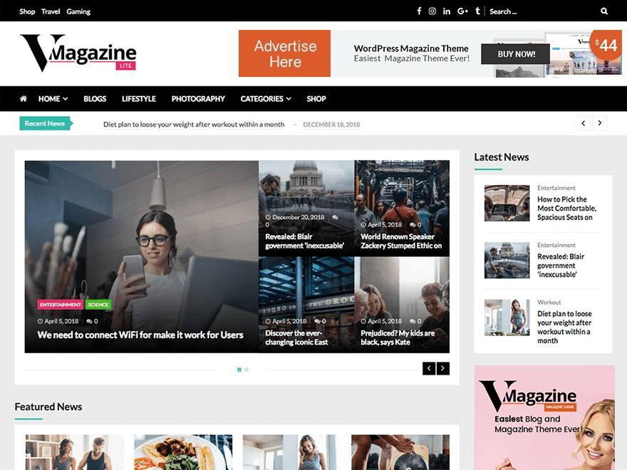 VMagazine Lite WordPress news template