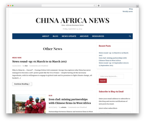 Tribune newspaper WordPress theme - chinaafricanews.com