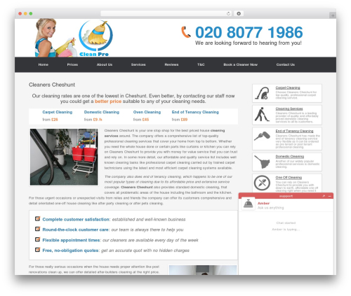 Cleaning Services WordPress page template - cleanerscheshunt.com