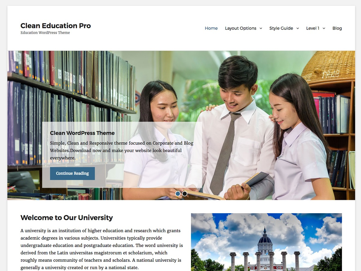 Clean Education Pro WordPress page template