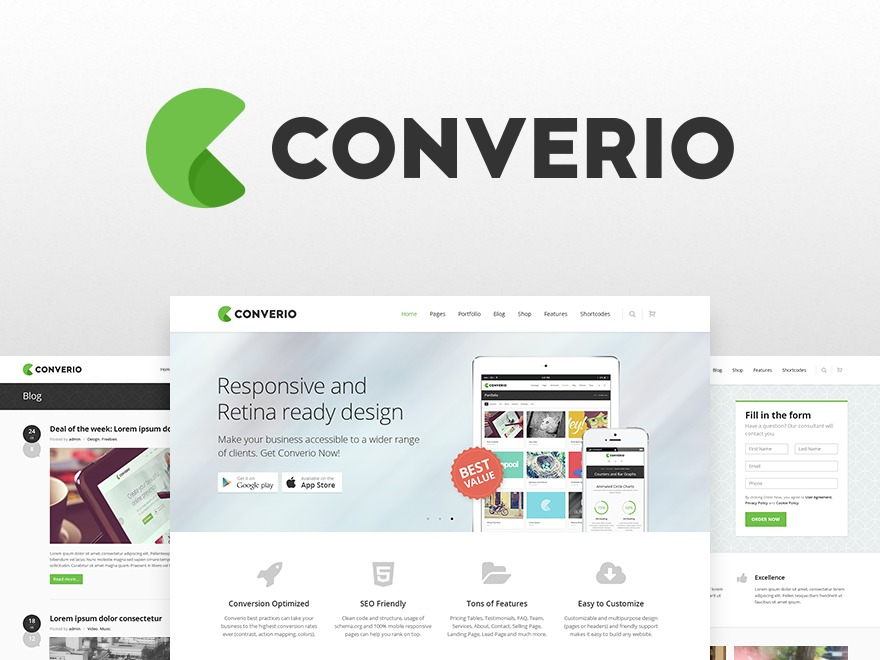 Converio (shared on wplocker.com) premium WordPress theme