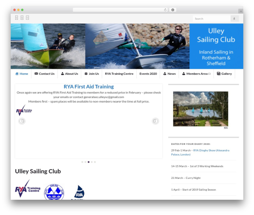 Graphene WordPress theme design - ulleysailingclub.org.uk