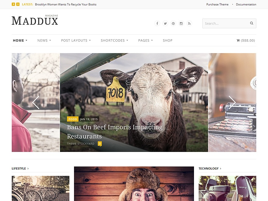 Maddux WordPress news template