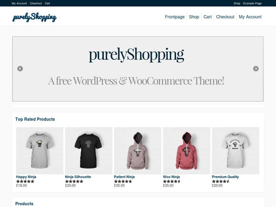 purelyShopping WordPress ecommerce template