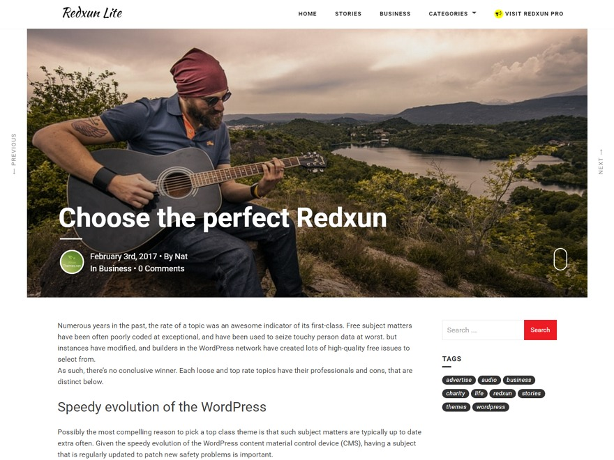 RedxunLite free WordPress theme