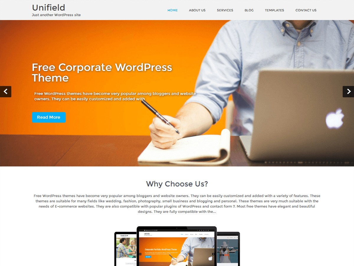 Unifield template WordPress free
