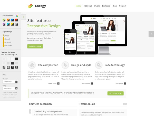 WP template Energy child theme