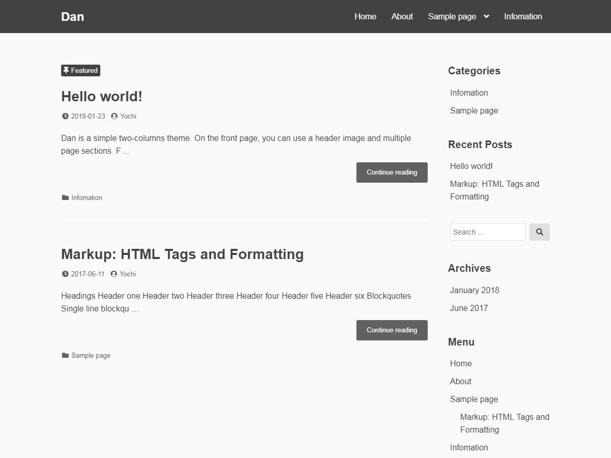 Dan WordPress theme