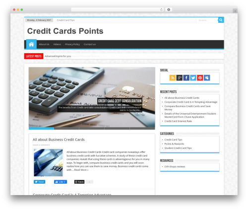 Sahifa (shared on wplocker.com) WordPress theme design - creditcardspoints.com