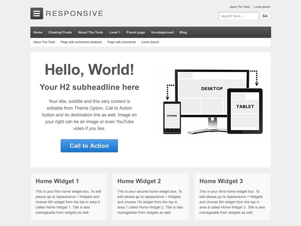 Responsive full width featured area Child Theme WordPress theme