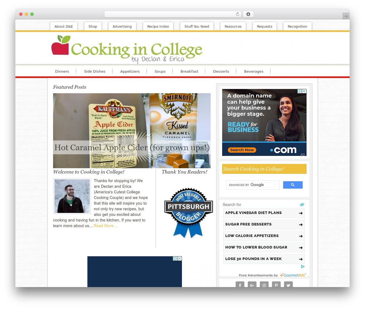 Innovative Child Theme WordPress website template - cooking-in-college.com
