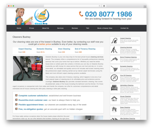Cleaning Services template WordPress - cleanersbushey.com