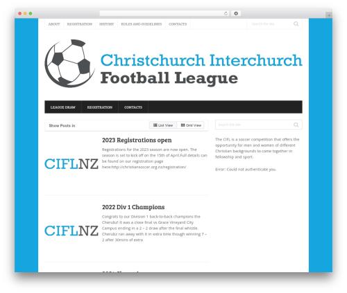 Splash theme WordPress - christiansoccer.org.nz